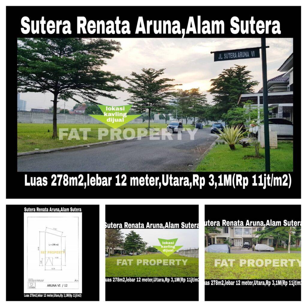 Dijual harga miring kavling di Sutera Renata Aruna,Alam Sutera,Serpong.