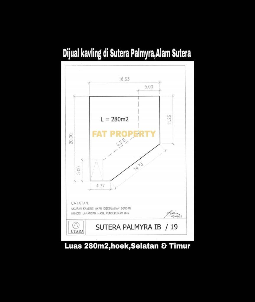 Dijual harga miring kavling hunian di Sutera Palmyra,Alam Sutera.