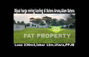 Dijual harga miring kavling di Sutera Aruna,Alam Sutera,Serpong.