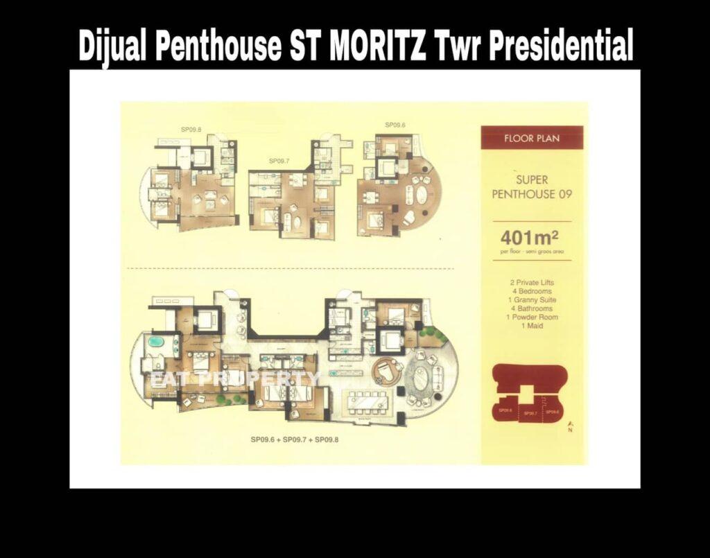 Dijual Penthouse ST MORITZ Tower Presidential, tower paling ekslusif hanya 4 unit per lantai posisi paling private di ujung kompleks ST MORITZ.