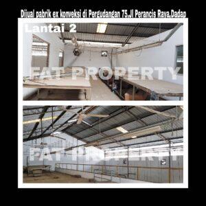 Dijual gudang bekas pabrik garment di kawasan Pergudangan 75 ,Perancis Raya,Dadap,Tangerang.