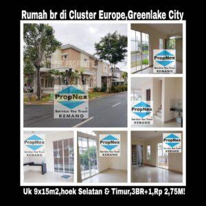 Dijual rumah baru bagus di Cluster Europe,Greenlake City.