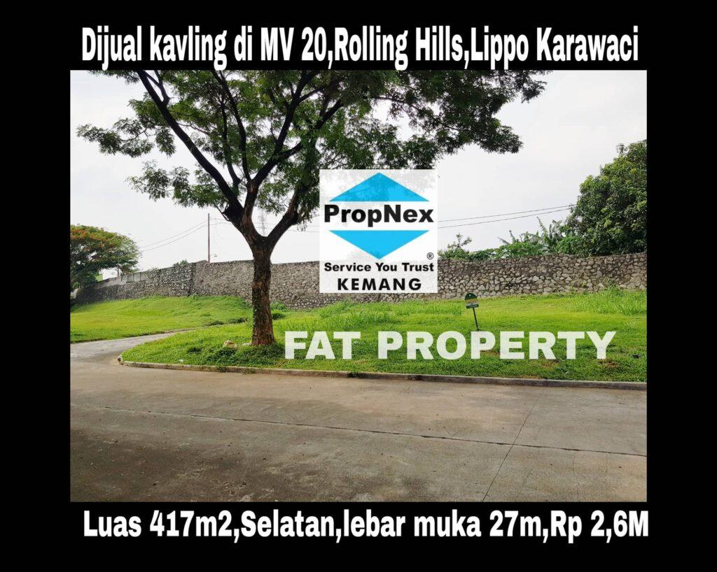 Dijual kavling hunian di Moreno Village 20,Rolling Hills,Lippo Karawaci.