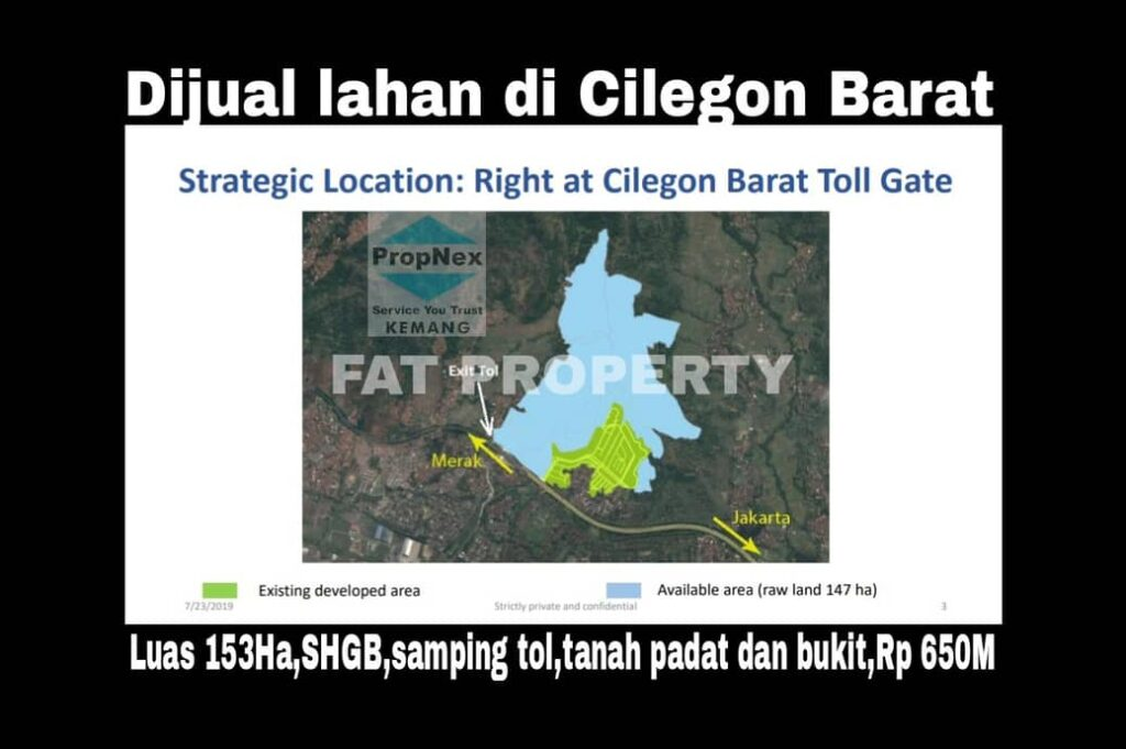 Dijual lahan di Cilegon Barat.
