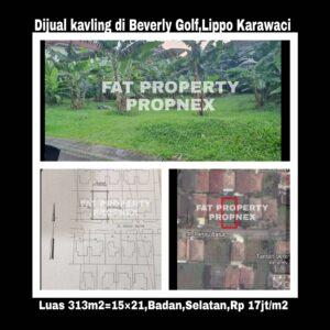 Dijual kavling hunian di perumahan elite Taman Beverly Golf,Lippo Karawaci.