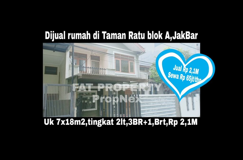 Dijual/disewa rumah di Taman Ratu Blok A,Jakarta Barat.