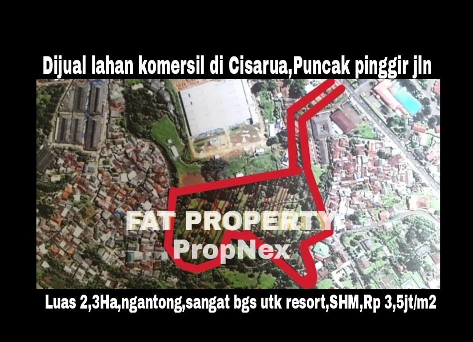 Dijual tanah komersil luas 2,3ha di Cisarua,Puncak.