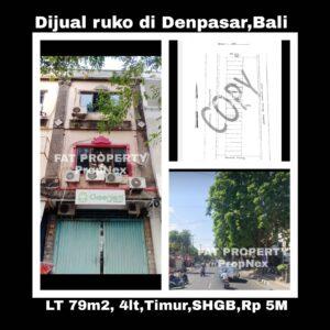 Dijual ruko di kompleks Pertokoan Diponegoro Indah jln Diponegoro 135 no 14,Denpasar,Bali.