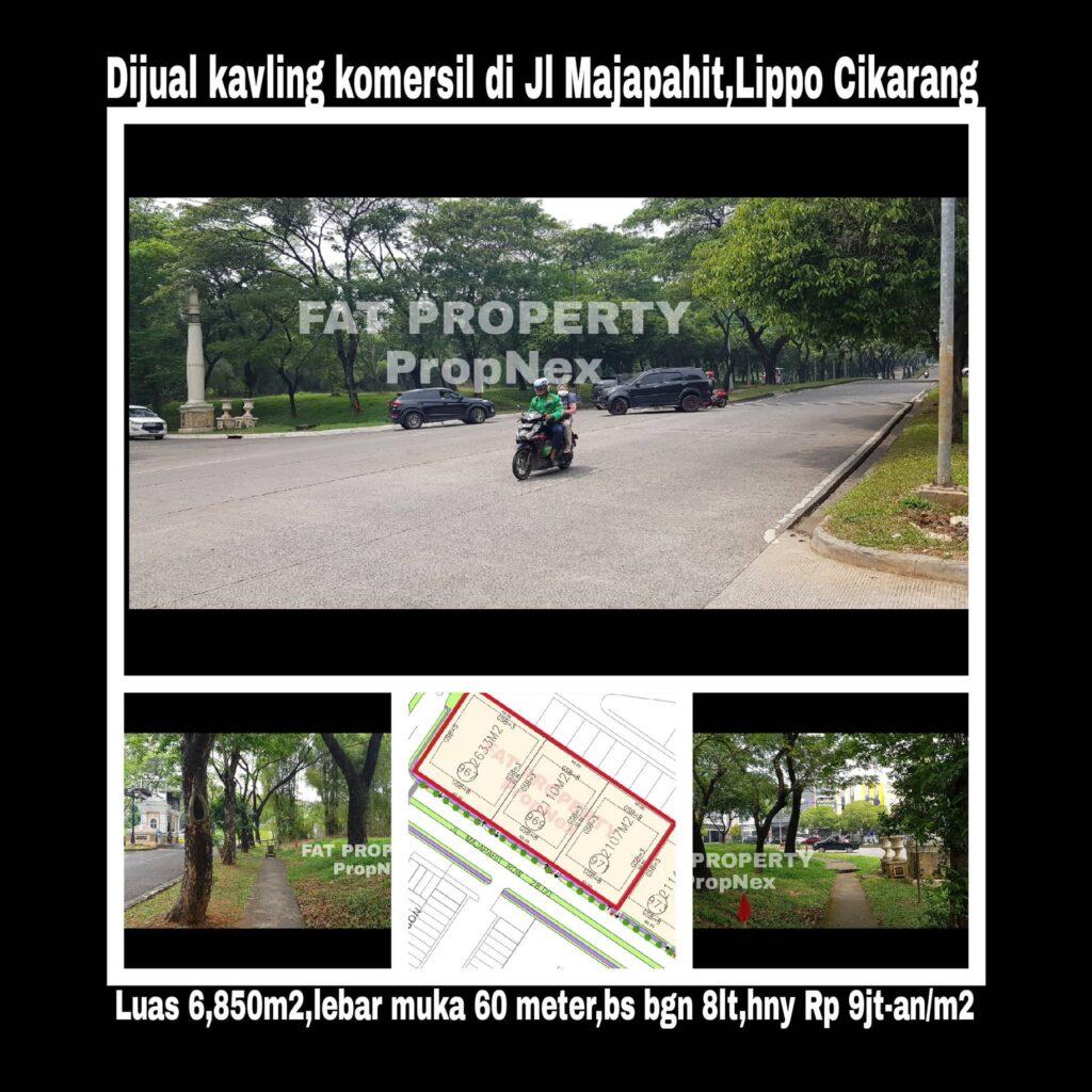 Dijual kavling komersial di pinggir Jl Majapahit,Lippo Cikarang: MATRIX (Majapahit Commercial District) .