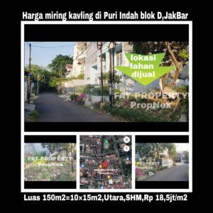 Dijual kavling hunian di Puri Indah Blok D2 no 9,Jakarta Barat.