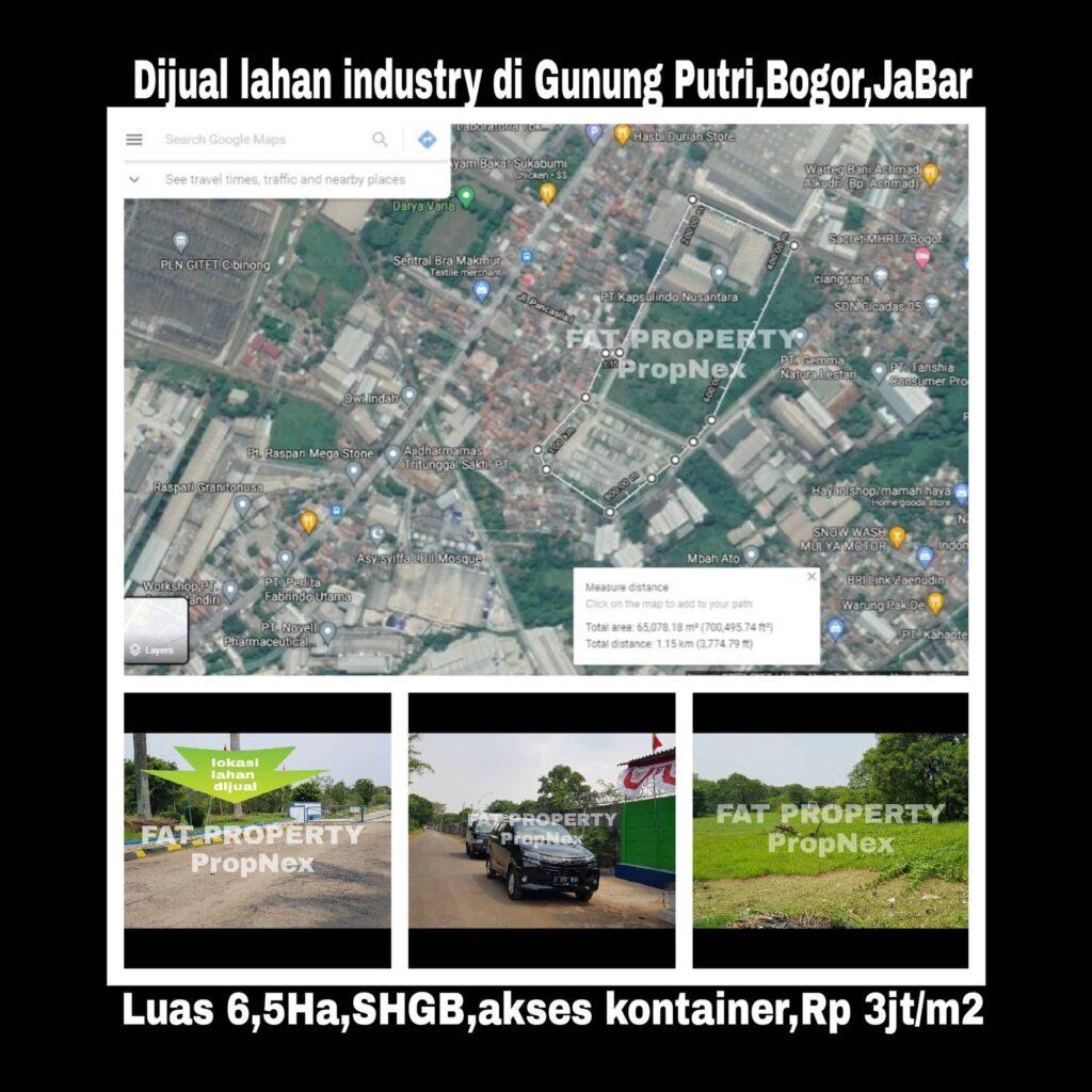 Dijual lahan industry di Gunung Putri,Bogor,Jawa Barat.