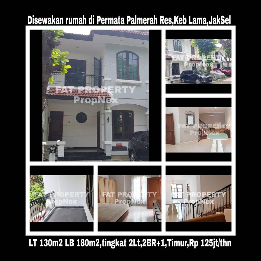 Disewakan rumah townhouse dalam cluster elite Permata Palmerah Residence,Kemandoran,Kebayoran Lama,JakSel.