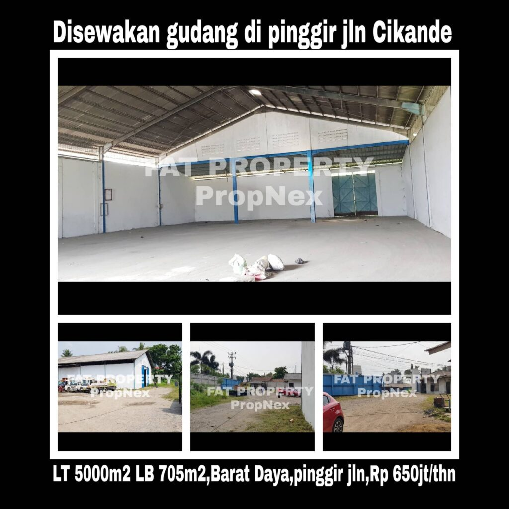 Disewakan gudang di pinggir jalan Cikande,hny 2km dr pintu tol Cikande.